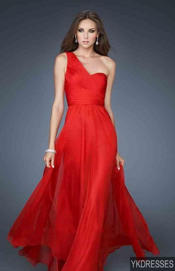 One Shoulder Red Chiffon Prom Dress
