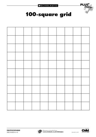 100 Square Grid Template | art education | Pinterest | Squares