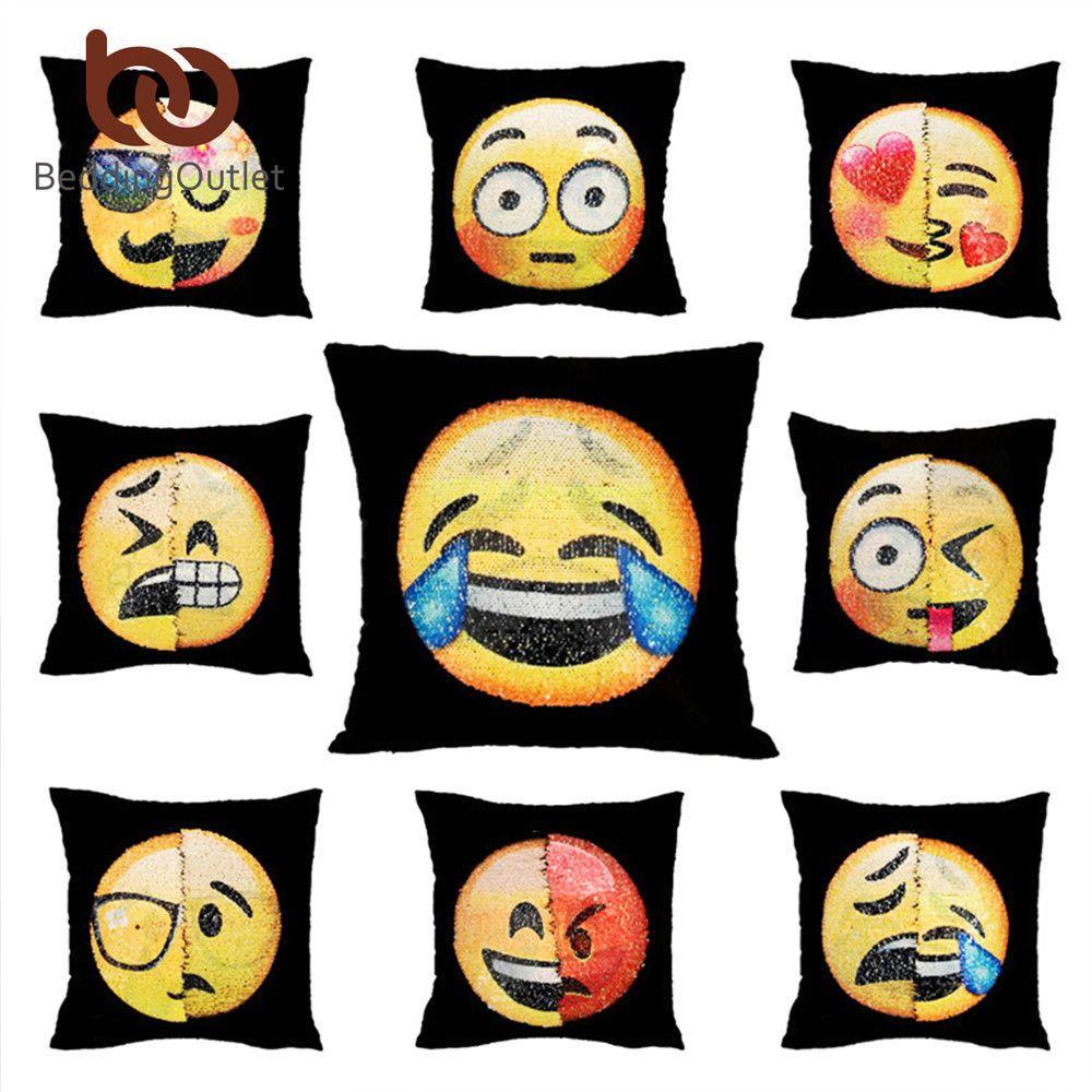 Home Decor Funny Sofa Pillow Case Sequin Mermaid Reversible Emoji Cushion Cover