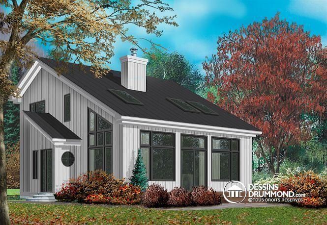 W2938 - Modèle de Chalet scandinave avec foyer, mezzanine, plafond - liste materiaux construction maison