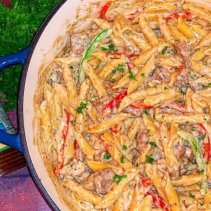 Jamaican Rasta Pasta Recipe Jamaican Dishes Jamaican Recipes Jamacian Food