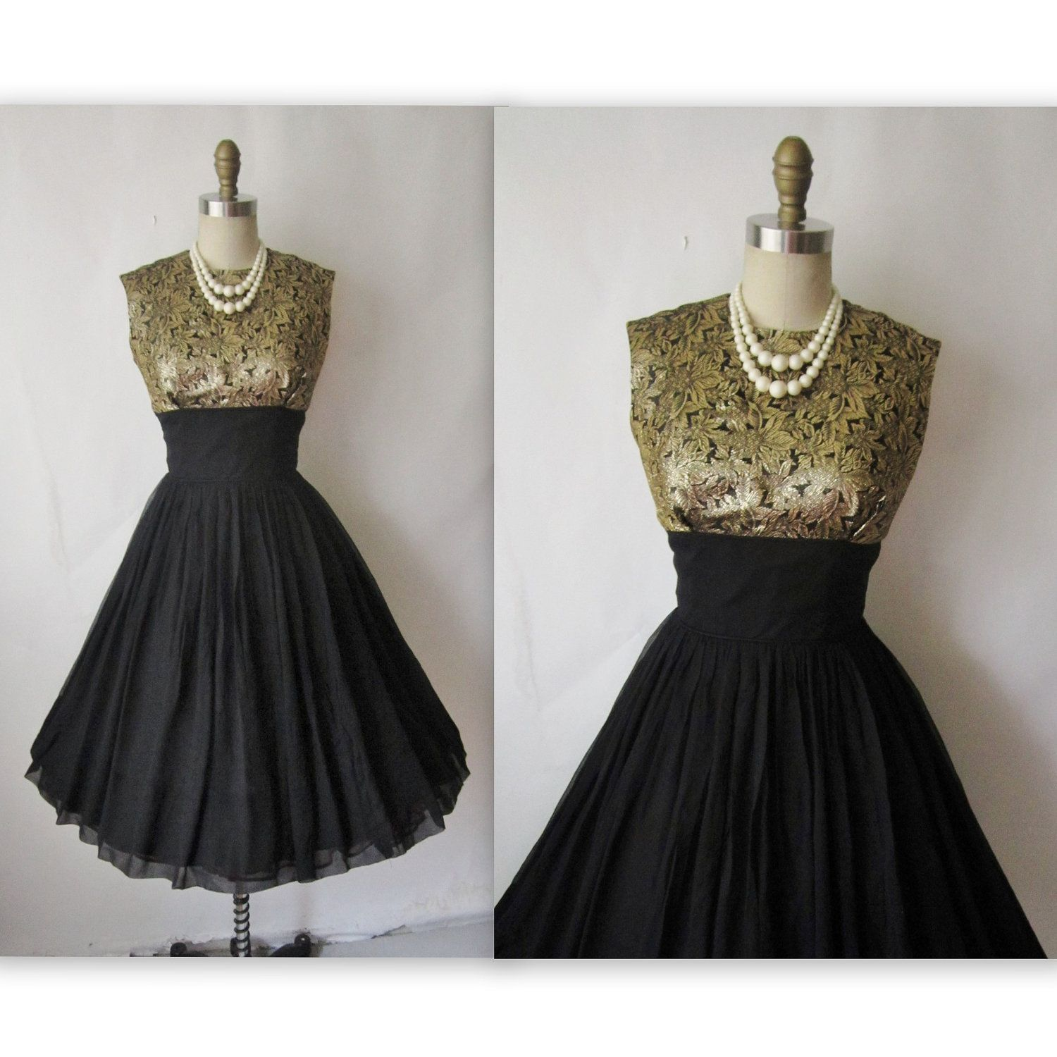 50\'s Cocktail Dress // Vintage 1950\'s Black Chiffon Gold Brocade ...