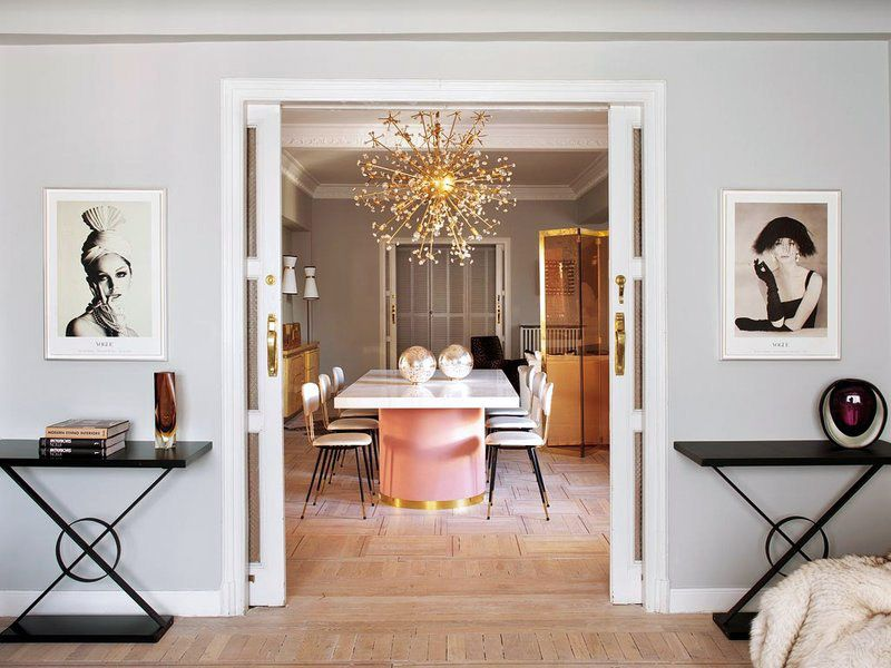 Living Pink Madrid Apt Vintage Femme Elegance Glam Dining Room Sliding Doors Vogue Photographs