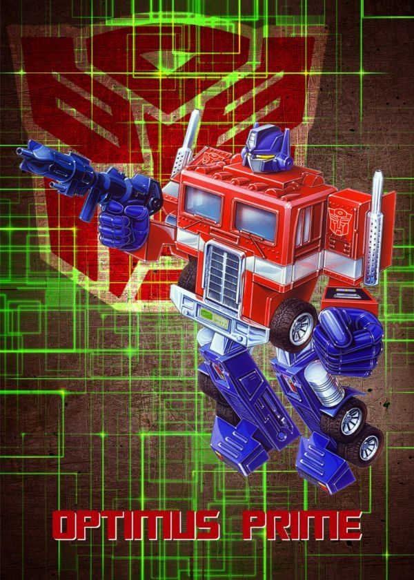 "Transformers G1 Autobots Optimus Prime #Displate artwork by artist ""Wiebes"". Part of a set… 