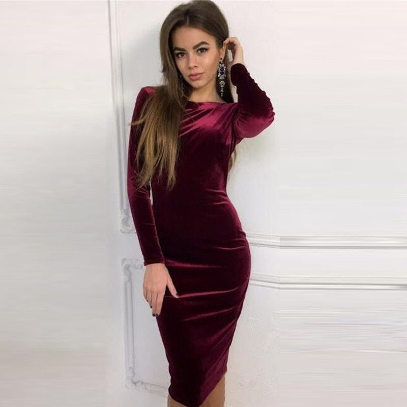 688ede374ab2 Purple Crew Neck Knee-Length Velour Bodycon Dress