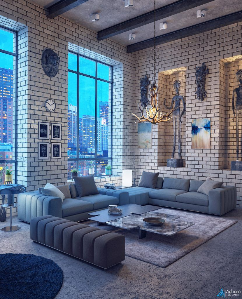 ec1f8db7fd5516 Free 3D Interior Loft BR Scene From Adham Mohamed | Scenes in 2019 ...