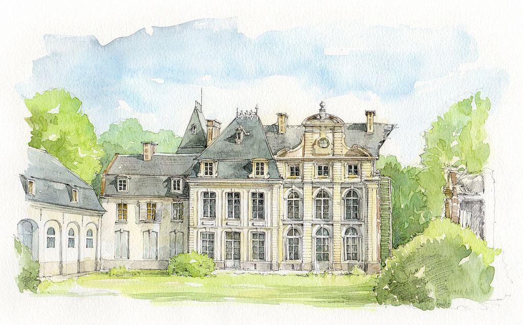Humieres Pas De Calais France Watercolor Architecture