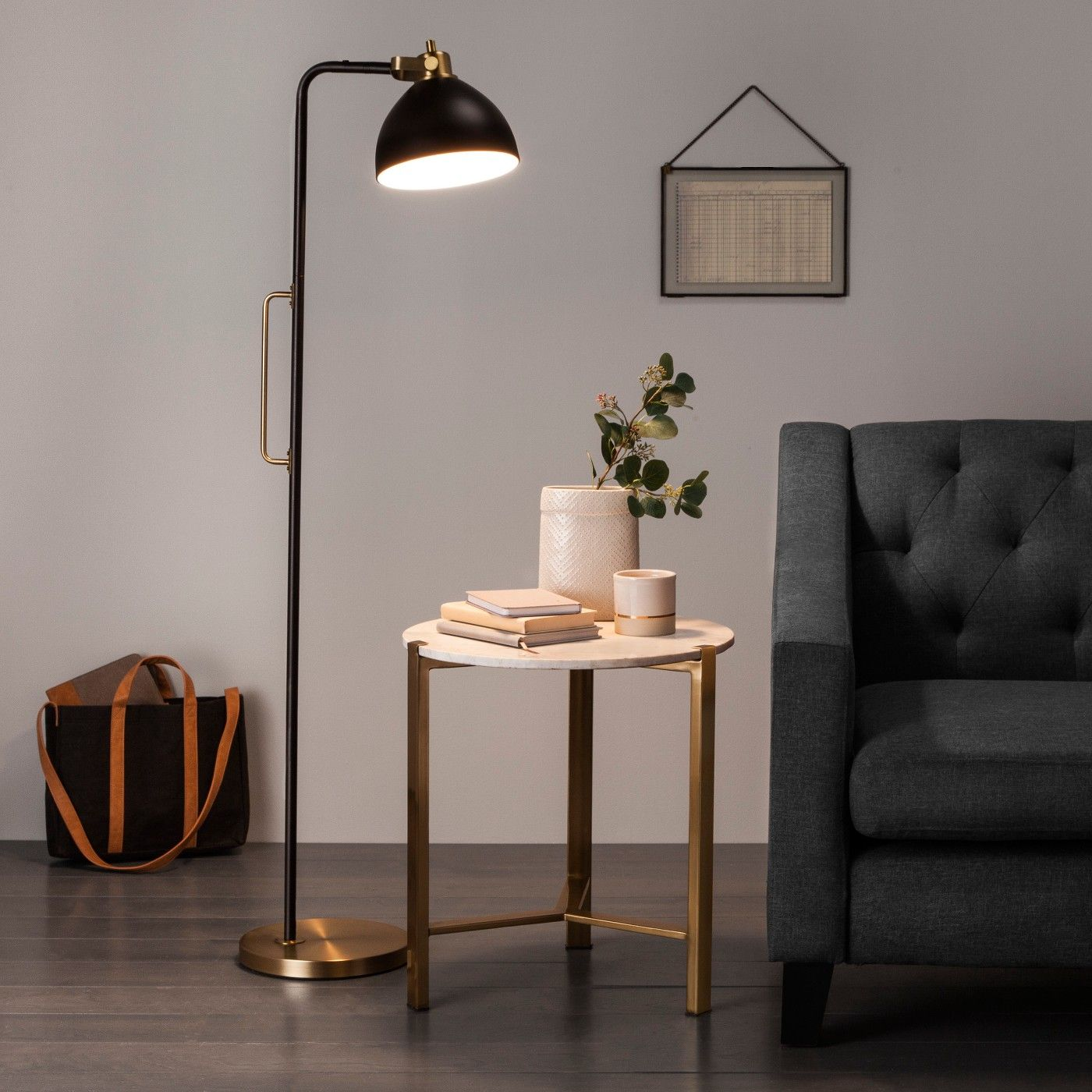 Black and brass handle floor lamp hearth hand with