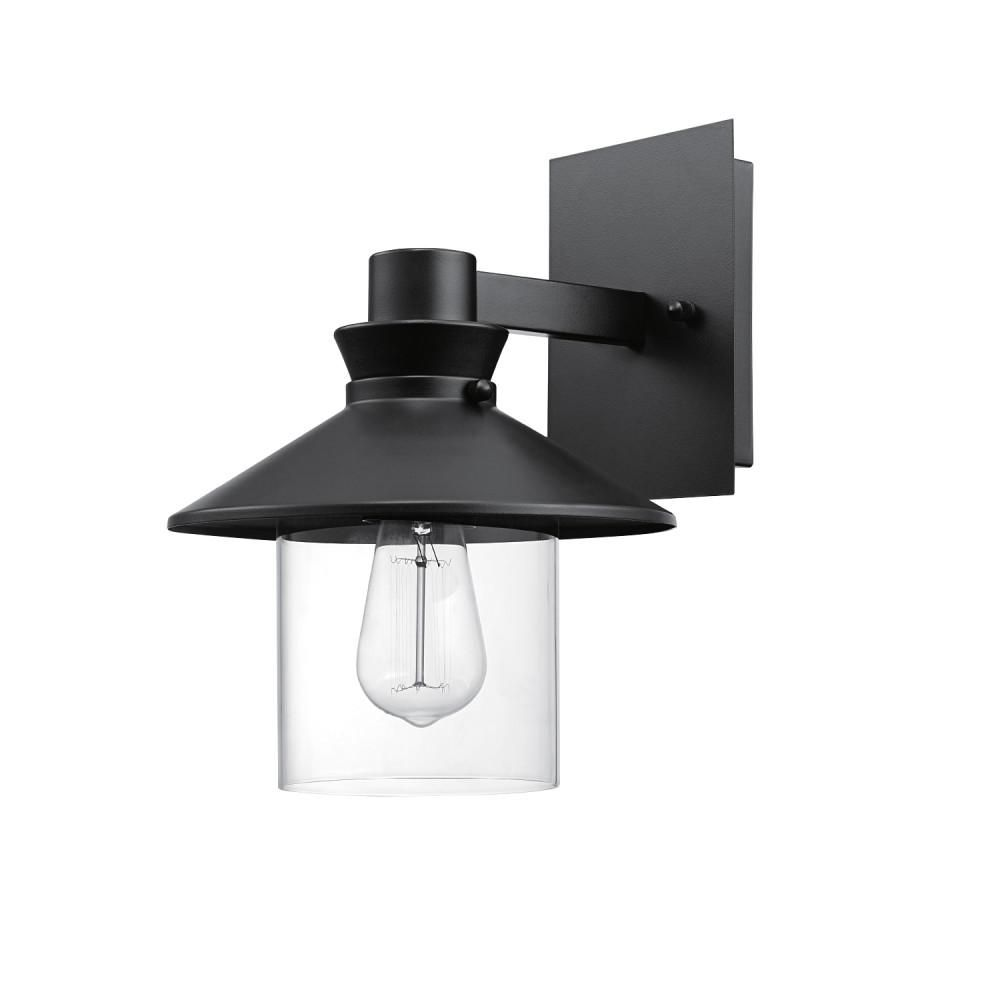 Globe Electric Westminster 1 Light Black Outdoor Indoor Wall Lantern Sconce With Clear Glass Shade In 2020 Sconces Globe Electric Outdoor Sconces