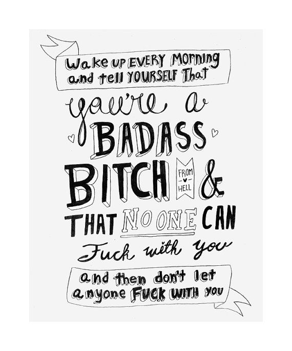Youre A Badass Bitch Inspirational Quote Print Decorating