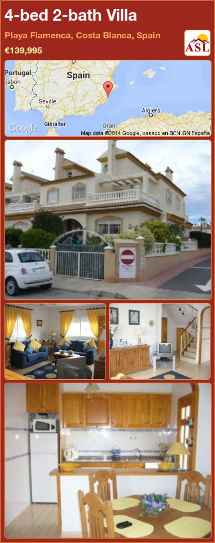 4-bed 2-bath Villa in Playa Flamenca, Costa Blanca, Spain ►€139,995 #PropertyForSaleInSpain