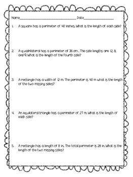 This worksheet contains 5 perimeter story problems that students can explore third grade math grade 2 and more fandeluxe Images