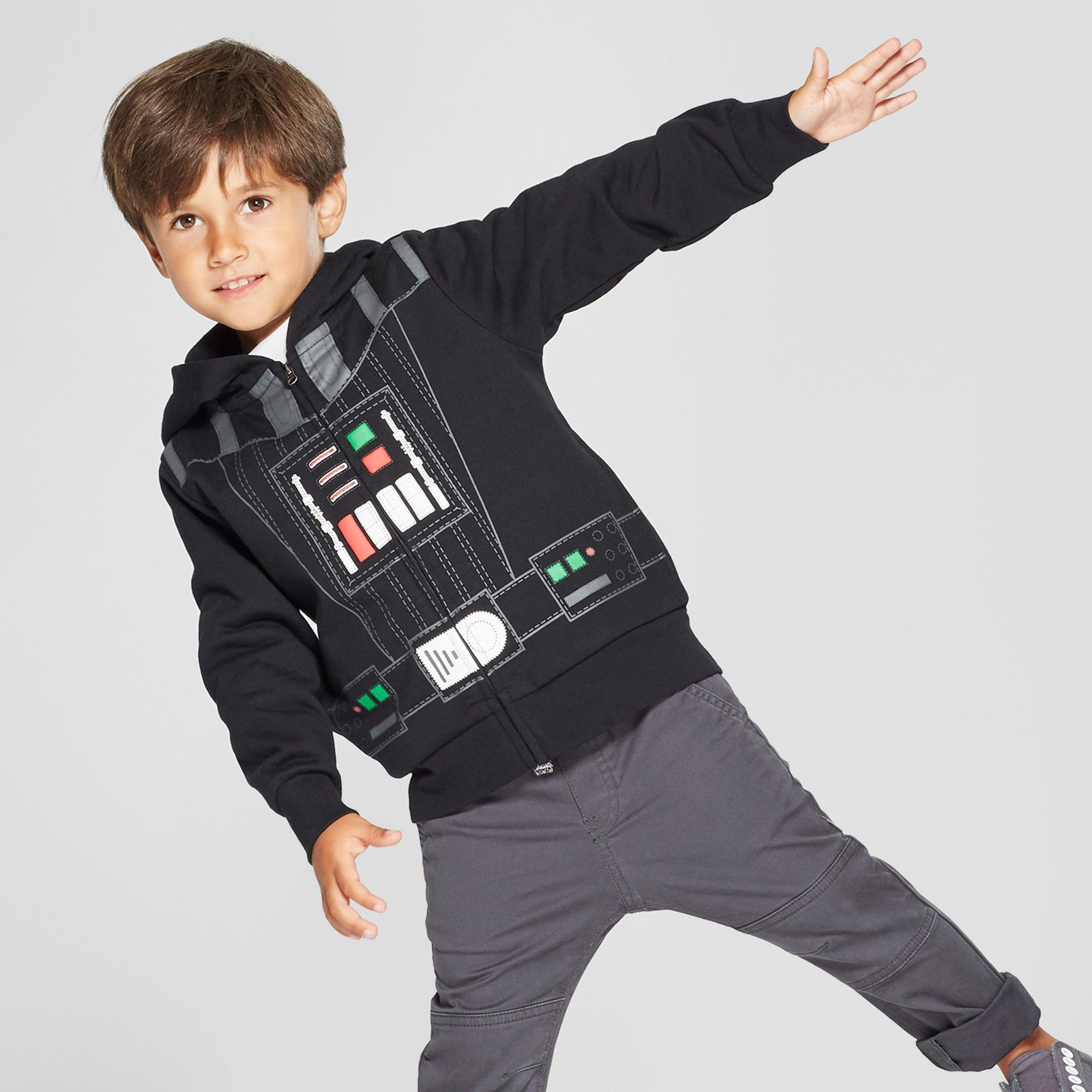 Star Wars Boys Childrens Zip Up Hoodie Darth Vader With Mask Black Sweatshirt