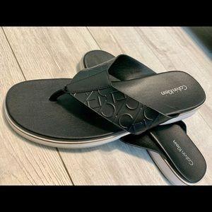 Calvin Klein Mens Leather Flip Flops Size 13 Fashion