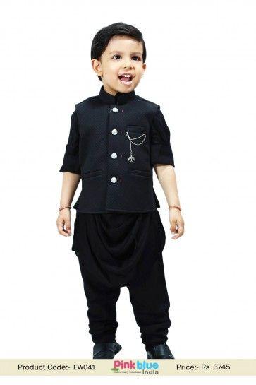 4d93b11d3 Kids Boys Bollywood Style Black Cowl kurta Pajama Set with Modi ...