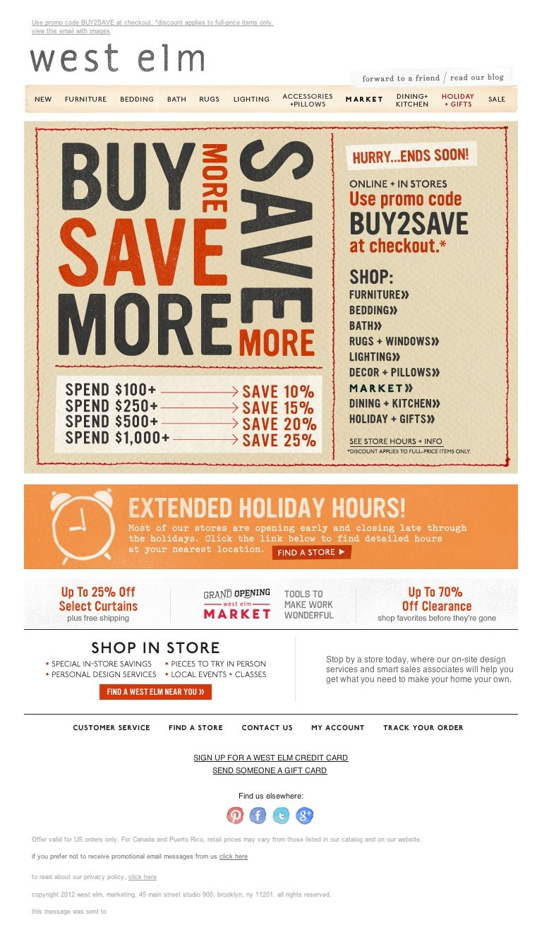 west elm - Black Friday starts now-everything's on sale!  (fun ways to market a sale)