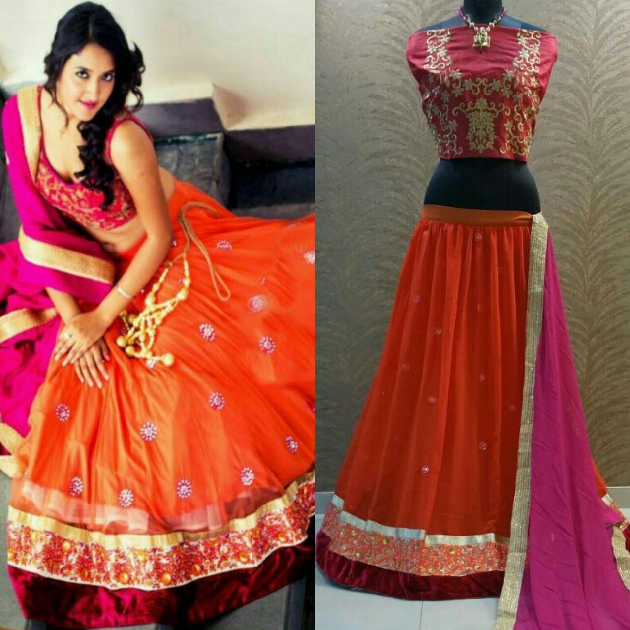 875a821540244a Beautiful Orange Embroidered Designer Lehenga Choli Fabric   Lehanga   60  gram georgette Blouse   pure