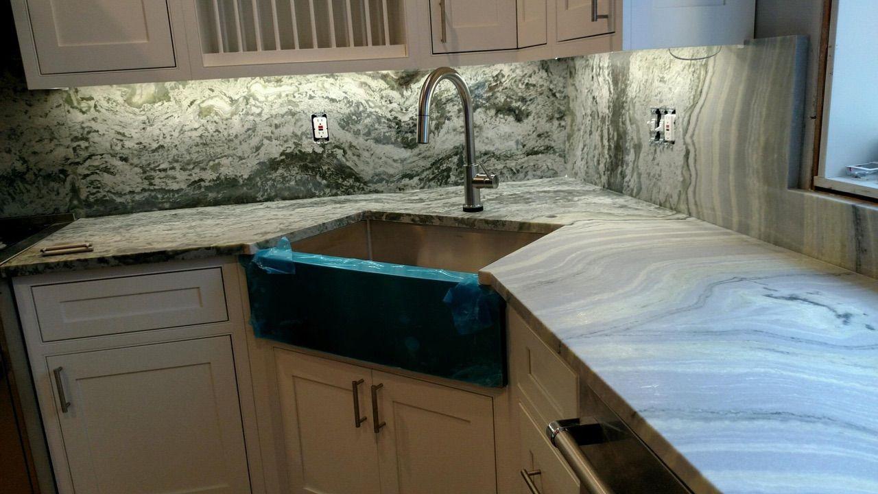 Illumi Honed Marble Countertops, Full Height Marble Backsplash, Kitchen Design, Kitchen Countertops, Bookmatched Seam, Farmhouse Sink, Modern Kitchen