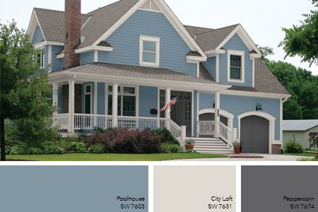 bungalow exterior blue is sherwin williams 6250 granite peak wood trim is sherwin williams 6149 relaxed khaki window sashes and garage door are s