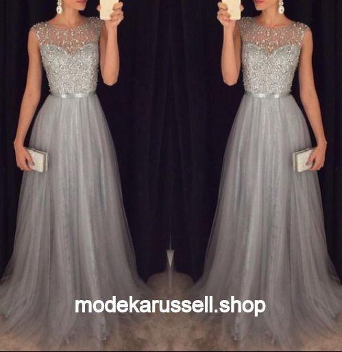 langes Abendkleid evening dress silber silver long Dress Hochzeit bodenlang