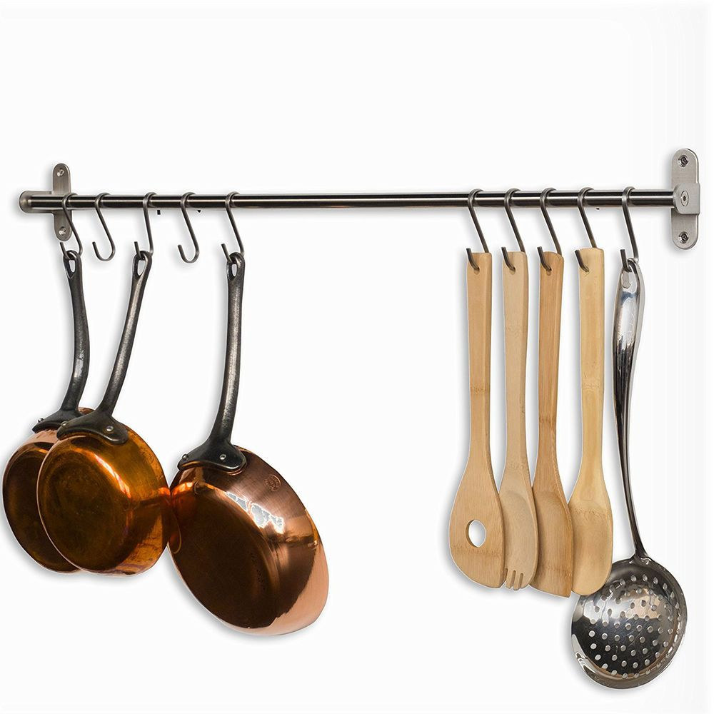 Wall Mount Pot Rack Pan Hanger Cookware Storage Pots Pans Organizer ...
