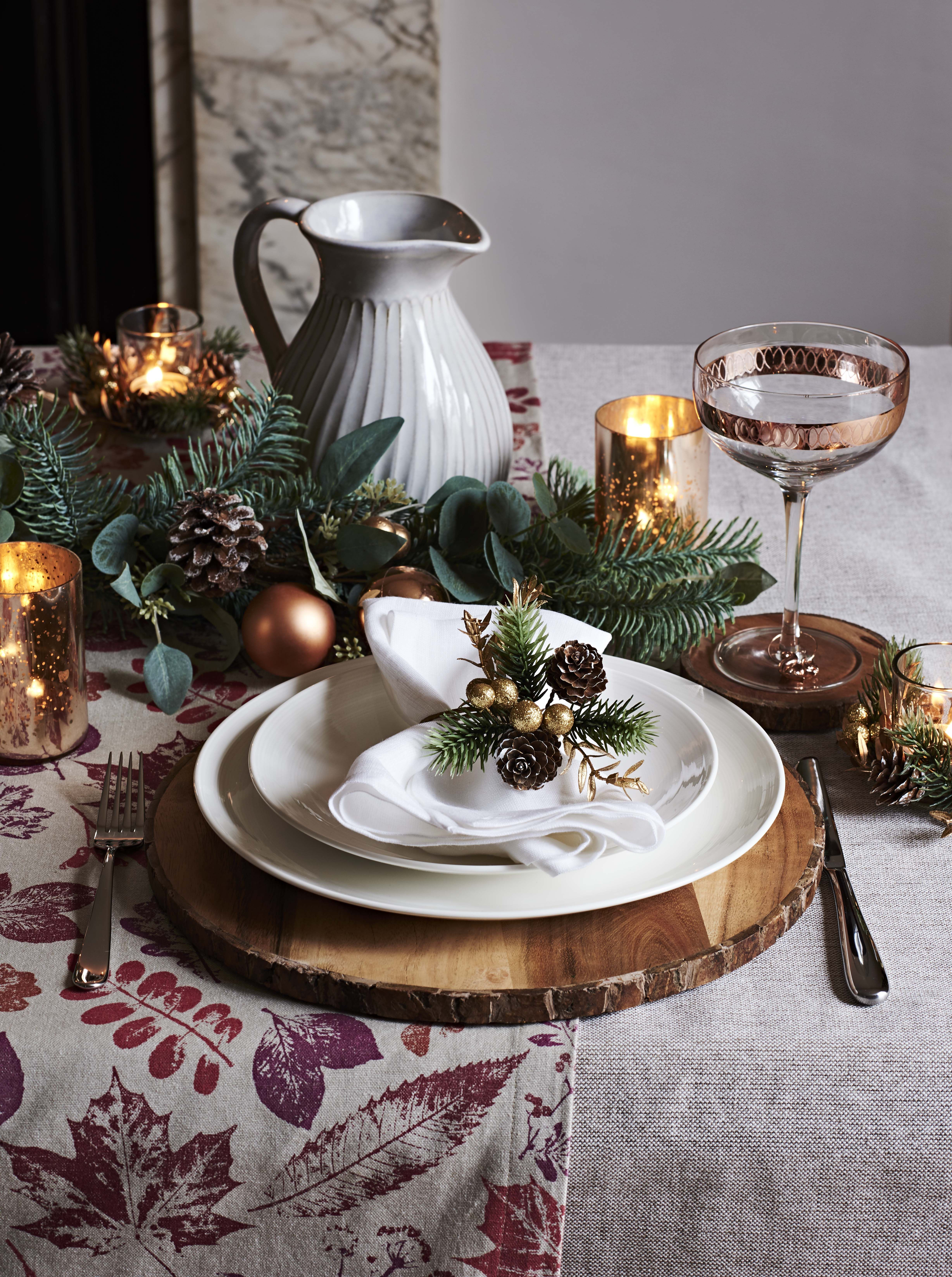 John Lewis Acacia Wood Bark Round Placemat 18 Pinecone Napkin Rings 15 B Christmas Table Decorations Diy Christmas Table Decorations Diy Christmas Table