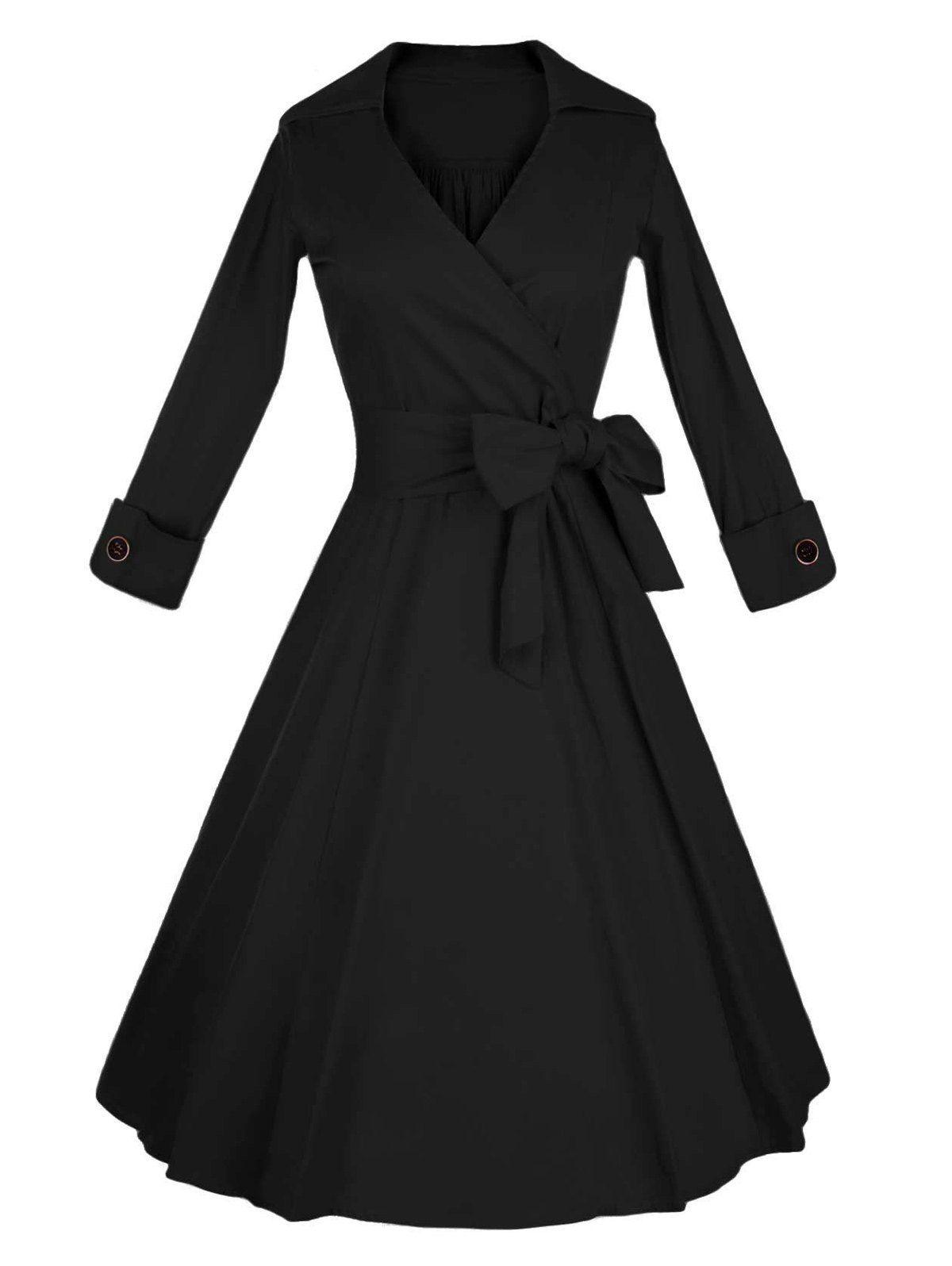 77c60e502a V-Neck Tied Swing Dress | My Style | Dresses, Vintage style dresses ...