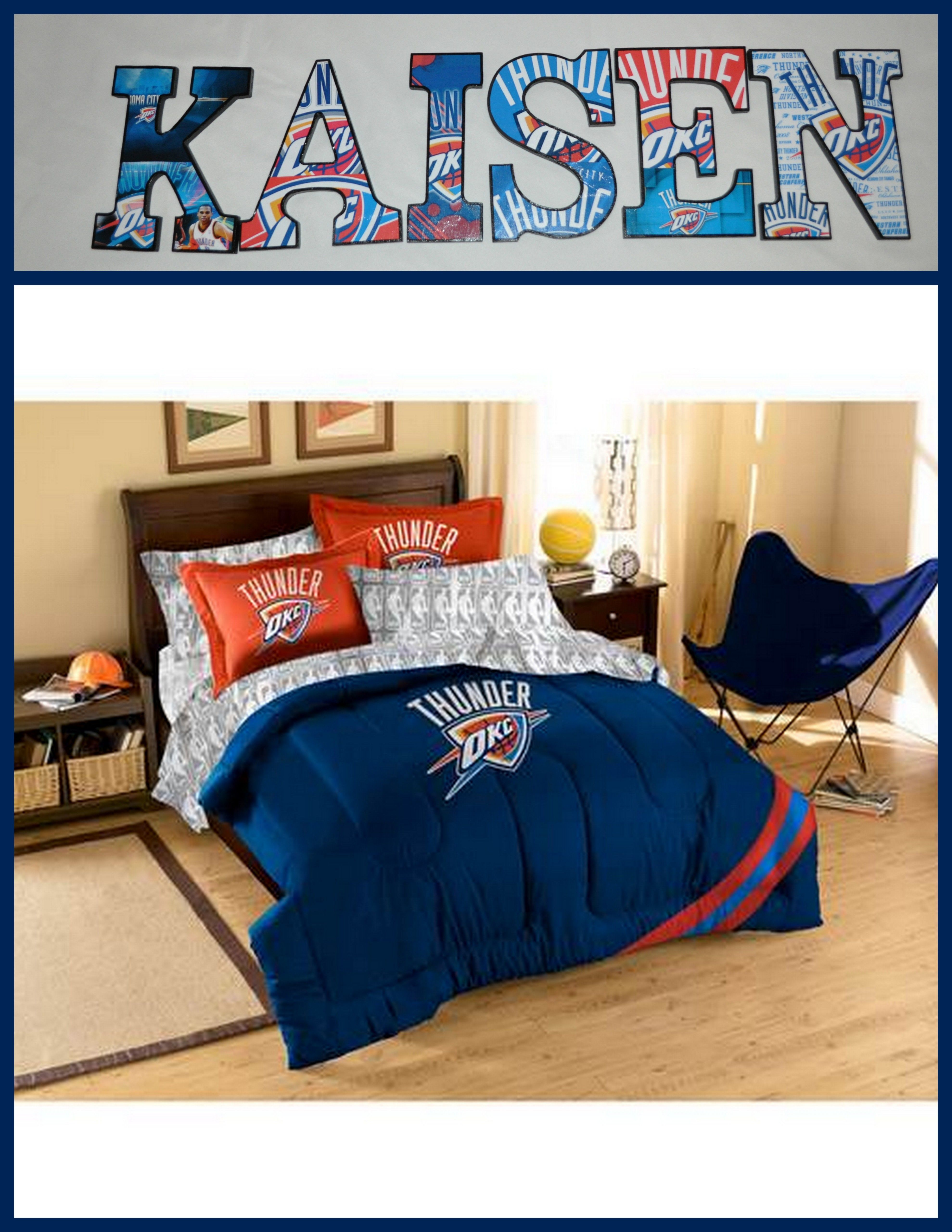 Oklahoma City Thunder Wooden Letters Personalize Your Child S Room Or Any Room 9 Wooden Letters With Drilled Holes In The Comforter Sets Bed In A Bag Comforters