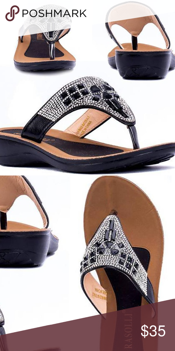d8f3d9821 Comfort Low Wedge Sandals Rhinestone 8.5 Black New Product Details Rasolli  Women s Kelly Comfort Low-Wedge Sandals High-quality thong sandals great  for ...