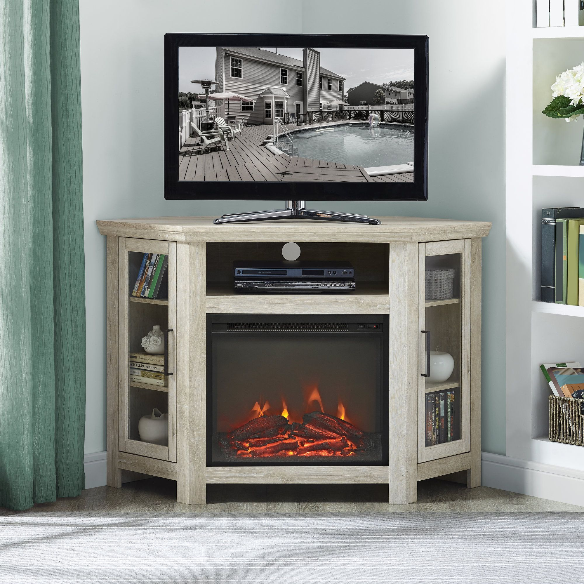 Union Rustic Rena Corner TV Stand With Fireplace Finish White Oak