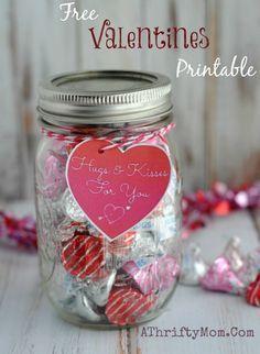 Free Printable Valentines Hugs Kisses Valentine Jar Diy