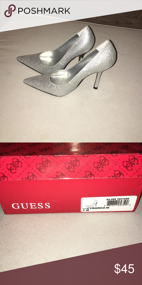 Guess silver heels   Silver heels