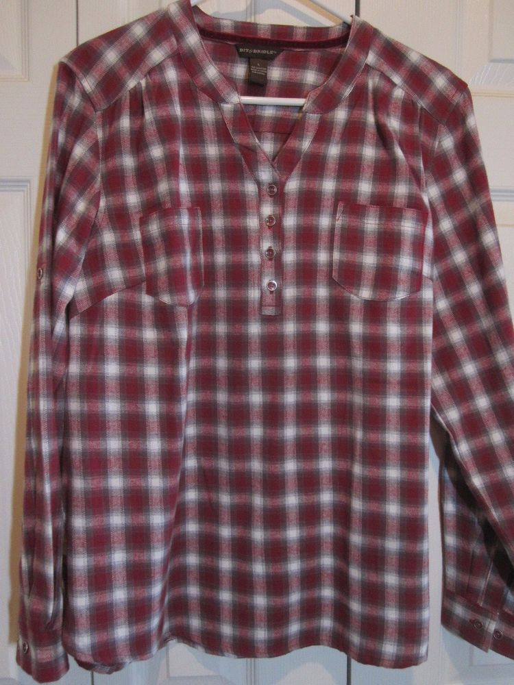 d3e80ff0 Bit and Bridle Women's Burgundy - Plaid / Checked Flannel pullover shirt L  NWOT…