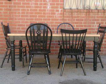 Table Chairs Custom Farmhouse Table Mismatch Vintage Chair Reclaimed Wood Dist Custom Farmhouse Table Rustic Restaurant Table Farmhouse Style Dining Table