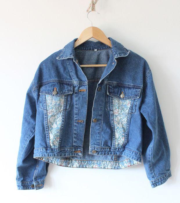 Veste en jean large vintage!!