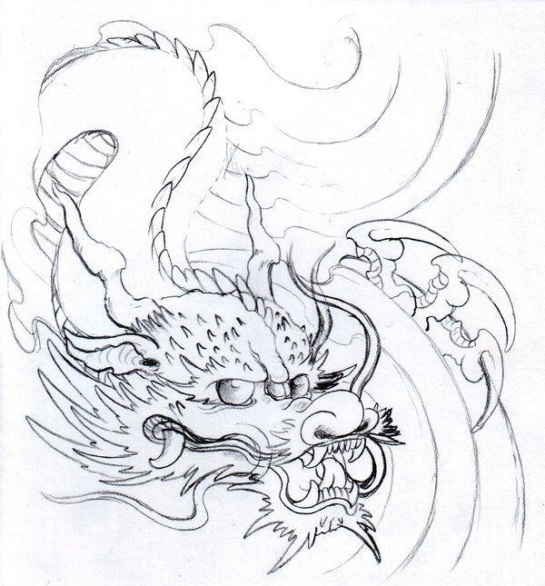 Dragon Pencil Sketch By Vikingtattoo On Deviantart Asian Dragon Tattoo Japanese Dragon Tattoo Dragon Tattoo Designs