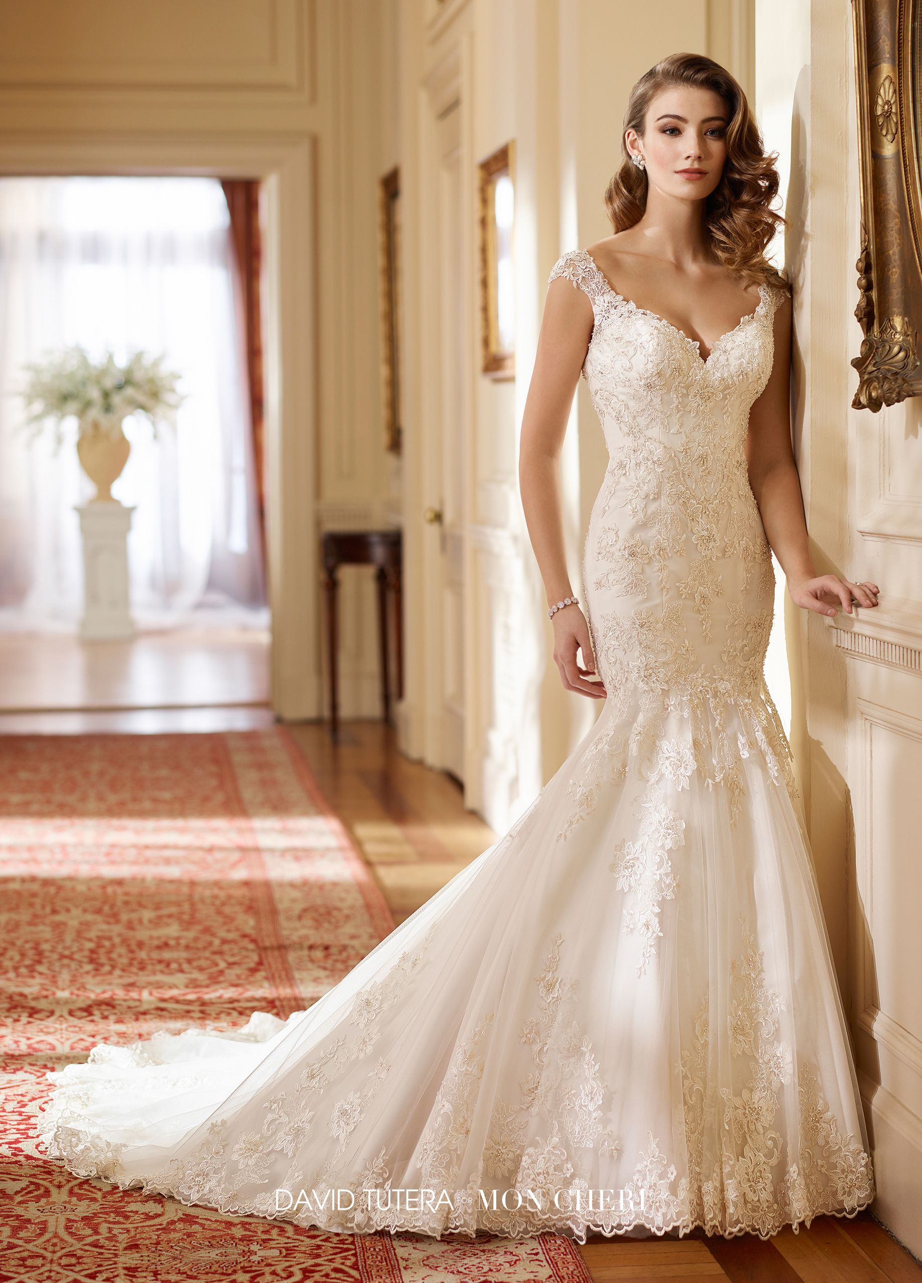 c6312b36bedf ... Wedding Dresses. 217219 Hazel - Tulle with Schiffli and Venise lace  appliqués over satin trumpet gown with hand-beaded lace cap sleeves, ...