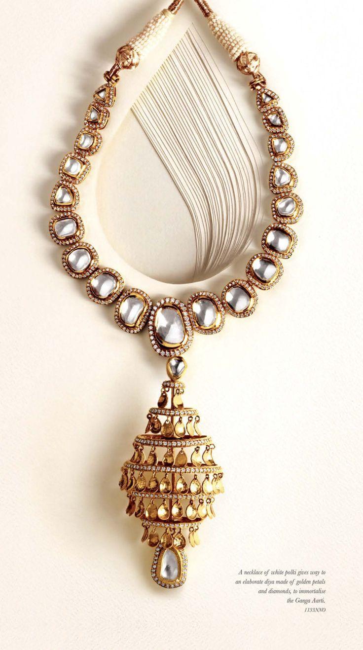 A traditional single line polki necklace by zoya by tanishq shop