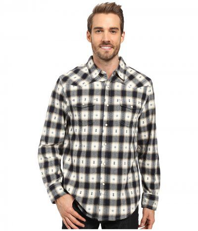 True Grit - Fire Mountain Icons Long Sleeve Two-Pocket Western Shirt with Contrast Chambray (Natural/Indigo) Men's Clothing