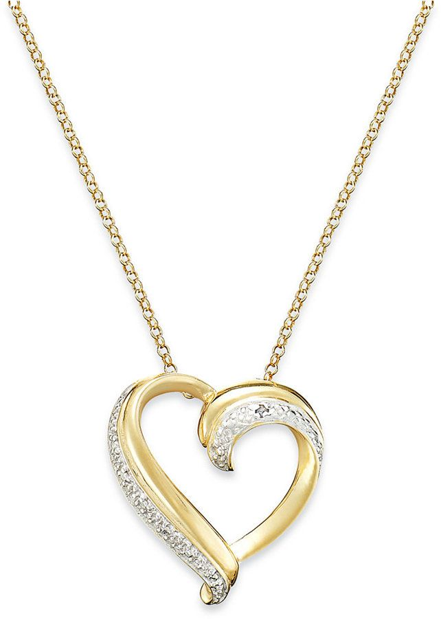 e18a8bbd8 Townsend Victoria 18k Gold over Sterling Silver Necklace, Diamond Accent Heart  Pendant on shopstyle.com