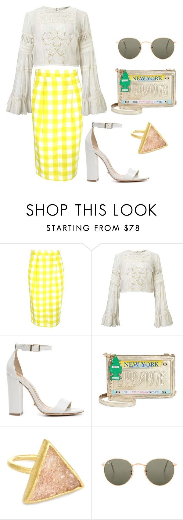 """""""Jealousy Incarnate Inspired Outfit #Kdrama"""" by indirag on Polyvore featuring Miss Selfridge, Schutz, Betsey Johnson and Ray-Ban"""