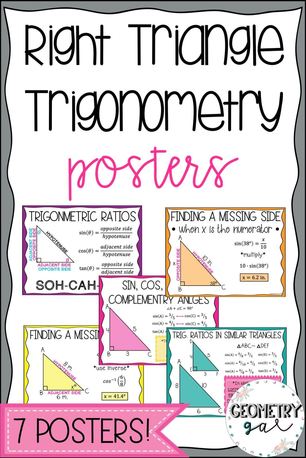 Right Triangle Posters Geometry Word Wall