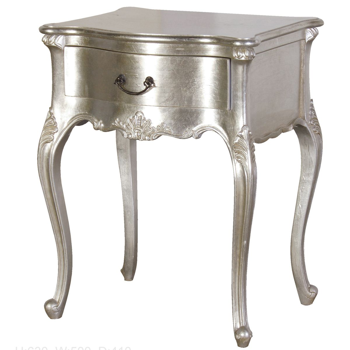 Classic bedside table - Sylvia Silver Single Drawer Bedside Table
