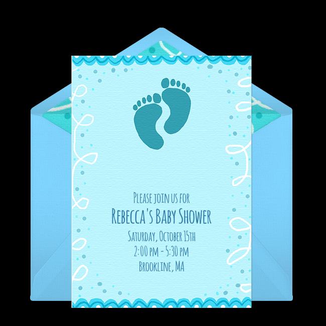 Free Baby Feet Scribble Invitations