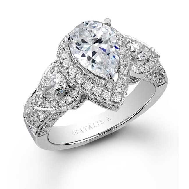 NK15191-W - 14k White Gold Pear Shaped Side Stone Diamond Engagement Ring  #Renaissance
