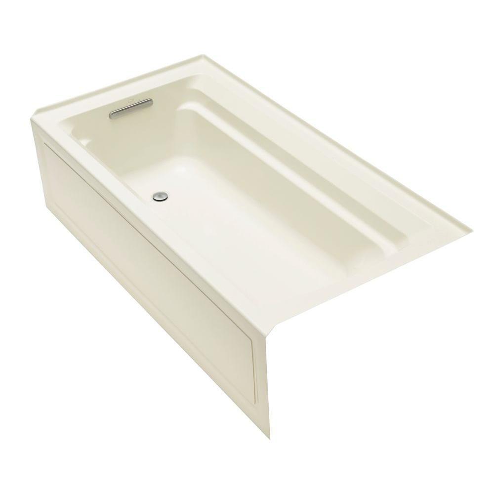 Kohler Archer 72 In X 36 In Acrylic Alcove Bathtub With Integral Apron And Left Hand Drain In White K 1125 La 0 Soaking Tub Kohler Archer Bathtub