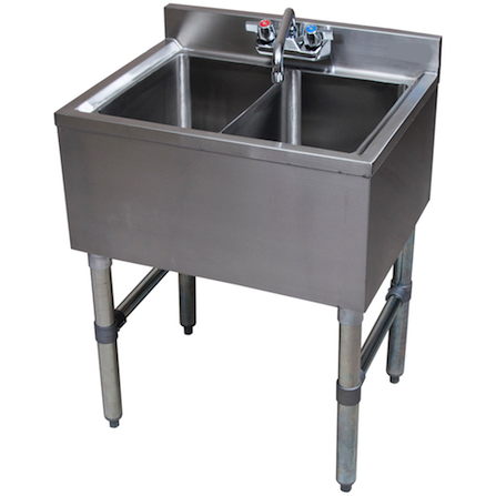 Stainless Steel 2 Compartment Underbar Sink 24 Sink Restaurant
