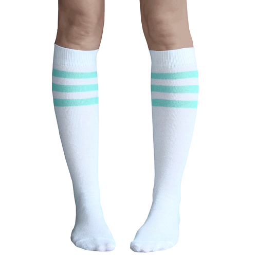 6a168bf16 White and mint green knee high tube socks. Chrissy s Socks 877-862-6267