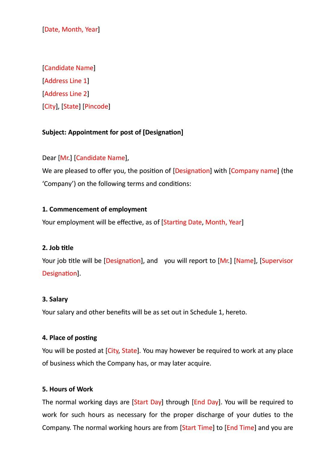 Appointment Letter Format Letter templates free, Letter