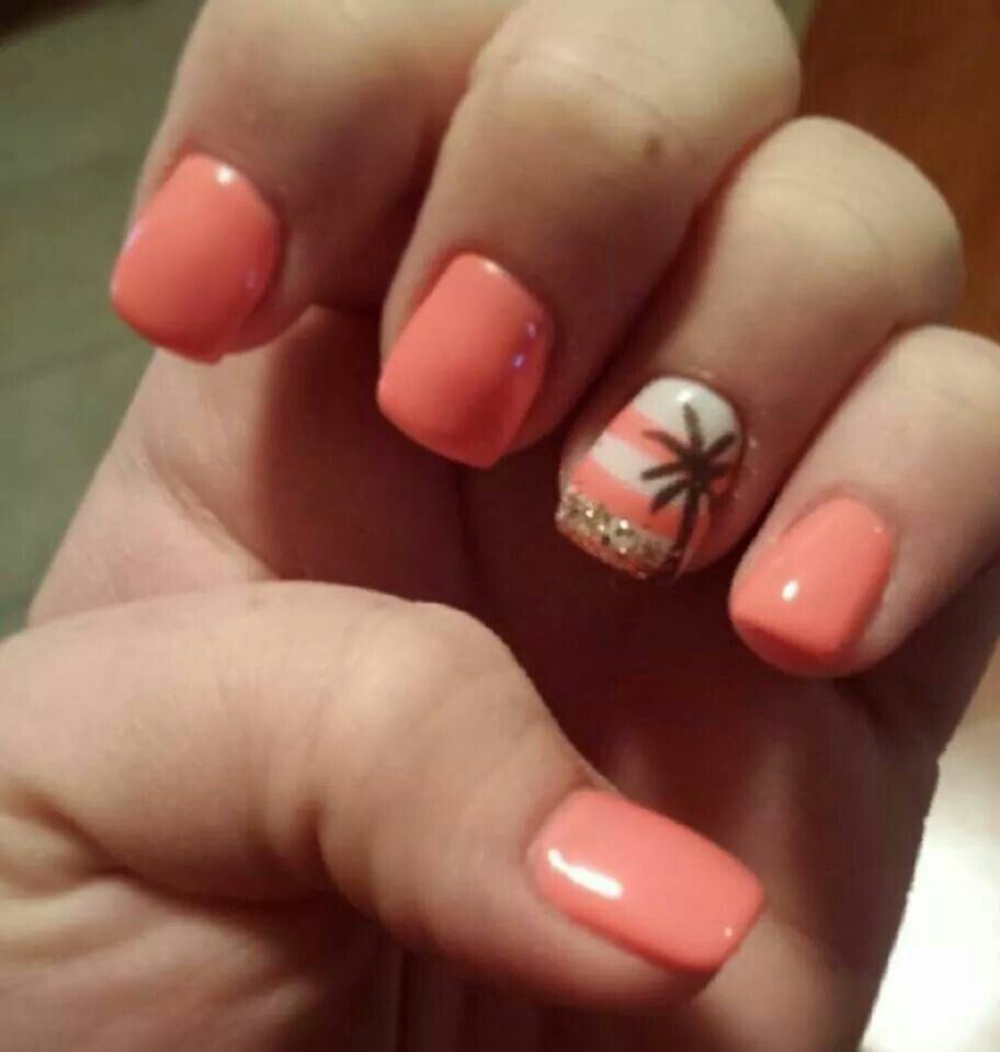 Get This Vacation Look At Polished Nail Bar Milwaukee And Brookfield Locations Nails Tropical Warm Like Us At Www Cruise Nails Beach Nails Palm Tree Nails